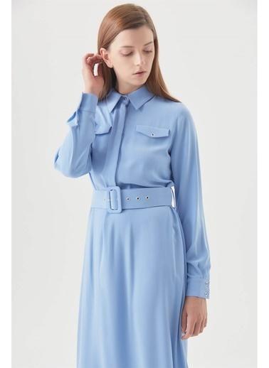 Vivencia Cepli Kuşgözü Kemerli Düğmeli Elbise  Mavi